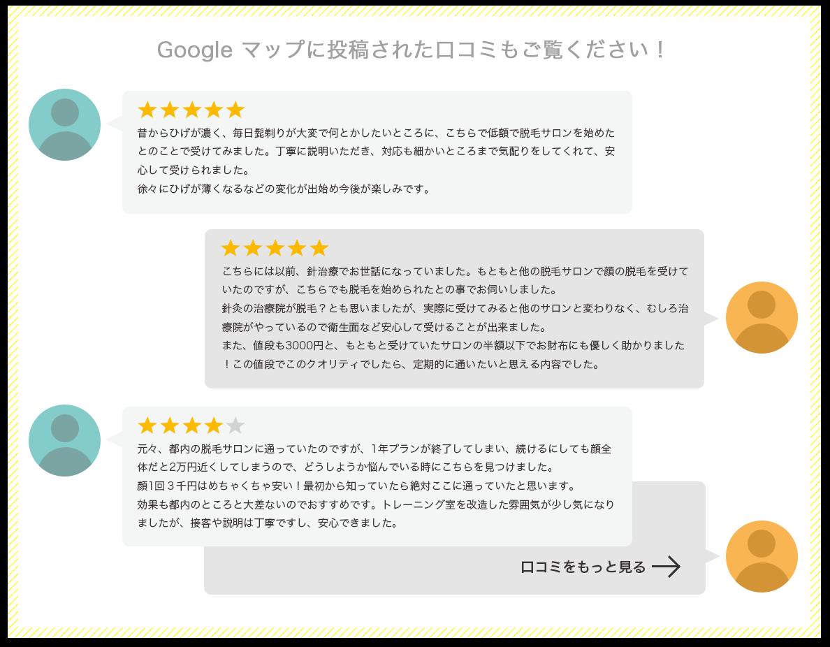 Googleマップに投稿された口コミもご覧ください!